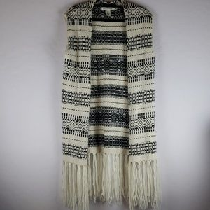 H&M Dark Gray and Cream Open Front Fringy Cardigan